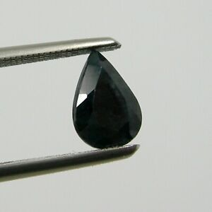 7x5 mm Pear Extremely Black-Blue Natural Australian Sapphire Gemstone, Qty 1