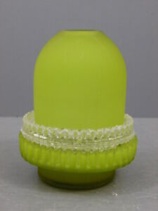 ANTIQUE SIGNED S CLARKE LIME GREEN THREE PIECE UNLISTED FAIRY LAMP CRICKLITE CUP