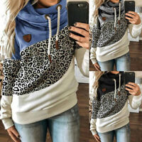 Women's Casual Leopard Long Sleeve Hoodie Sweatshirt Hooded Tops Jumper Pullover
