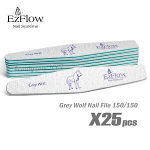 Ezflow Grey Wolf Nail Files 150/150 x 25ct for Acrylic UV gel Dip Powder