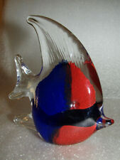 """Angel Fish Blown Glass Paperweight Figurine 4-1/4"""" Clear Red & Blue"""
