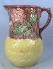 Majolica Wild Rose Pitcher Butterfly Spout Wood Boards Diamonds Antique #1