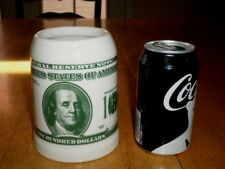 [ $100 ] ONE HUNDRED DOLLAR BILL - BEN FRANKLIN, Ceramic Beer Stein / Mug, Vint