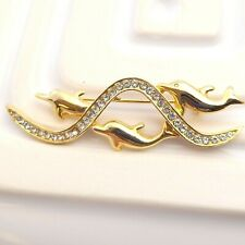 Swimming Dolphins Brooch Gold Tone Rhinestone Dolphin Lapel Pin Great Condition