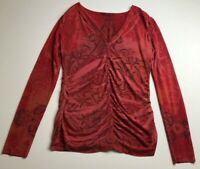 Nally & Millie Women's Long Sleeve Blouse Top Small S Paisley V Neck Stretch