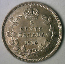 1916 Silver Canadian George V  Nickel Coin Canada Five Cent AU