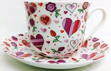 Chic Hearts Cup Saucer Bone China Large Breakfast Cup Saucer Set Hand Decor UK