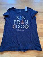 NWT OLD NAVY GIRLS Blue San Francisco California Short Sleeve Shirt Size XL (14)