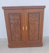 Vintage Hand Carved Oriental Liqueur Cabinet  Dry Bar