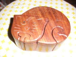 Secret Puzzle Box Kitty Cat Feline trinket Hand Carved Wood