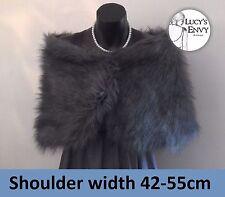 Australian Made Dark Grey Faux Fur Wrap Shrug Shawl Wedding -Lucy's Envy W109-16
