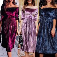 Womens Off spalla Velvet Dress Ladies sera festa vestito sciolto gonna a pieghe