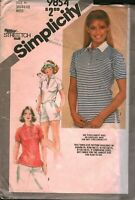9854 Vintage Simplicity Sewing Pattern Misses Pullover Top Stretch Knit UNCUT 10