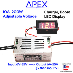200W DC 10A Boost Converter Battery Charger Step-up Power 6v-55V LiFePO4 Li-ion