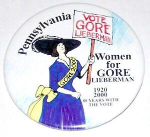 2000 PENNSYLVANIA WOMEN AL GORE JOE LIEBERMAN campaign pinback button political