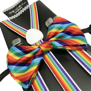 Rainbow Slim Suspender and Bow Tie Set for Teenagers Adults Men Women (USA)