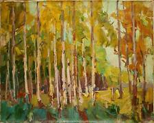Russian Ukrainian Oil Painting Impressionism Landscape trees autumn birch