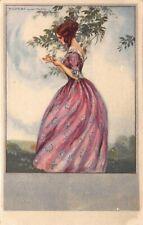 Corbella Postcard Woman Pulling Petals Off Flower in Garden Field~123142