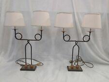 Coppia lampade in ottone con cappello in tessuto del '900 cm 69x18x10 Antikidea