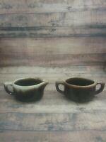 Hull Pottery Brown Drip Chili Soup Bowl and Mug Handled Cup Vintage
