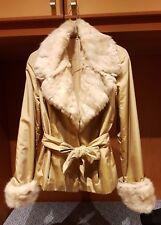 Giacca Cappotto da Donna con  Pelliccia in Lapin Giallo Ocra Tg.42 Made in Italy