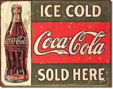 Ice Cold Coca Cola Sold Here 1916 Metal TIN SIGN Vintage Restaurant Wall Poster