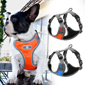 Reflective Small to Large Dogs No Pull Harness Mesh Padded Vest for Bulldog S-XL