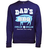 DADS WORLD FAMOUS BBQ MENS CHEF SWEATSHIRT JUMPER FATHERS DAY XMAS BIRTHDAY GIFT