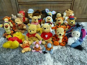 21 Disney Pooh Character Bean Bag Plush Lot Cowboy Pilot Angel + Tigger Eeyore