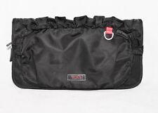 TUMI Black Nylon Ruffle Cosmetic Make Up Case zipper sections large