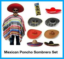 Mexican Poncho & Sombrero Fiesta Set Bandit Wild West Cowboys Indian Blanket