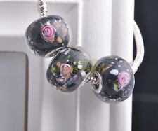 10pcs 20mm Lampwork Glass Round Flower Loose Big Hole Murano Charms Beads Black