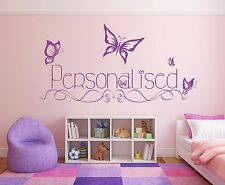 Butterflies & custom personalised girls name. Wall decal sticker art. Any colour