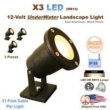 3PCS LED Deck or Underwater Landscape Lights - Cast Aluminum - 5W LED MR16 Lamps