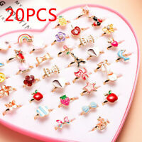 20Pcs Children Kids Girls Adjustable Cute Pattern Ring Jewelry Party Favor Gifts