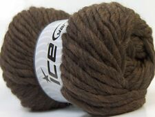 100 Gram Dark Brown Pure Wool SuperBulky Yarn #26156 Ice - 71 yards - Feltable