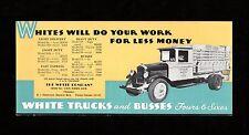 >Old 1930's White Trucks and Busses VINTAGE BLOTTER (unused!) Fresno, California