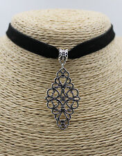 Rhombus Flower Hollow Pendant Women Black Choker Collar Bib Necklace 1 PC #14