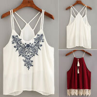Boho Women Tank Tops Flower Embroidered Strappy Vintage Cami Cotton Vest shirt