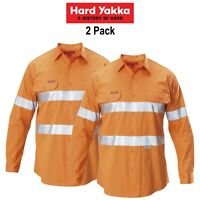 Mens Hard Yakka Koolgear Long Sleeve Work Shirt 2 PK Hi-Vis Taped Summer Y07996