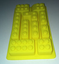 Silicone LE GO BUILDING BRICK MOULD 10 SHAPES Ice Choc Wax CAKE DECO Yellow Tray