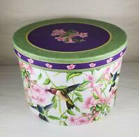 Round Hat Box Victorian Humming Birds Pattern Print Storage or Decoration NICE