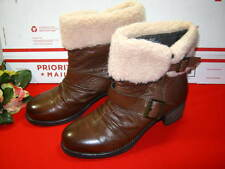 WOMENS TARA M BROWN LEATHER MID BOOTS SIZE 9 DEBBIE
