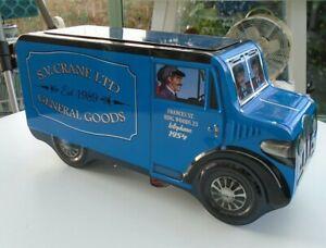 "Silver Crane Company Limited Blue Decorative 13"" Van Cookie Biscuit Tin"