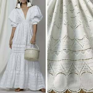 """53.1"""" Wide Cotton Fabric Geometric Embroidery Hollowed Eyelet Flower Lace Fabric"""