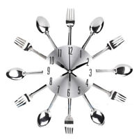 Creative Stainless Steel Knife Fork Spoon Cutlery Wall Clock Utensil Home Decor