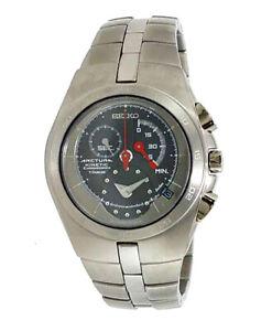 SEIKO Arctura Kinetic Chronograph Sapphire Titanium 100m Watch SNL007 SNL007P1
