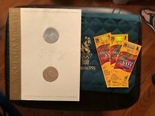 Atlanta 1996 Olympics Opening Ceremony Green Quilted Bag & Tickets NR-MT
