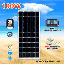 12v 100w Mono Solar Panel Kit Home Caravan Camping Power Charging Regulator