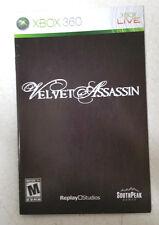 Xbox 360 Velvet Assassin Instruction Booklet Insert Only Microsoft